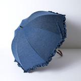 [Rose Blanc]遮光性100%晴雨兼用 シングルフリル傘50㎝ デニム