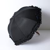 [Rose Blanc]遮光性100%晴雨兼用 ダブルフリル傘50㎝ ブラック