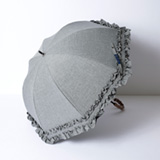 [Rose Blanc]遮光性100%晴雨兼用 ダブルフリル傘50㎝ ダンガリーグレー