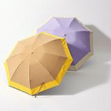[BICHERIE.]バイカラー×シャンブレー 晴雨兼用 折りたたみ日傘 3段タイプ