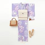 [れん]紫地 花丸文様 堅綿絽の浴衣(仕立て代込)