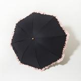 [BICHERIE.]100%完全遮光 晴雨兼用 折りたたみ日傘 2段タイプ フリル