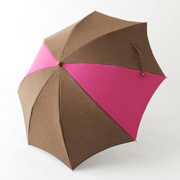 [BICHERIE.]100%完全遮光 晴雨兼用 折りたたみ日傘 2段タイプ 50cm アーチ ミックスカラー シャンブレー