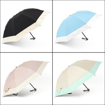 [BICHERIE.]100%完全遮光 晴雨兼用 折りたたみ日傘 3段タイプ 50cm バイカラー
