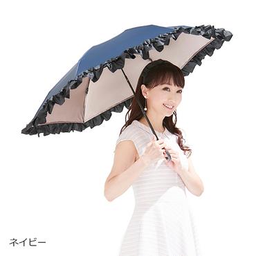 [mikifille]白川みきのおリボンUVカット涼感折りたたみ日傘