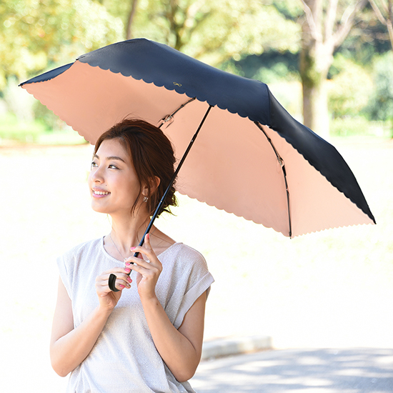 [solshade]100%遮光晴雨兼用ソルシェード【ブラックリボン】