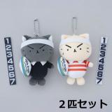 [ラガーにゃん]ぬいぐるみストラップ【2匹セット(クリーム猫+黒猫)】