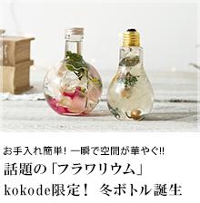 お手入れ簡単! 一瞬で空間が華やぐ!!話題の「フラワリウム」kokode限定! 冬ボトル誕生