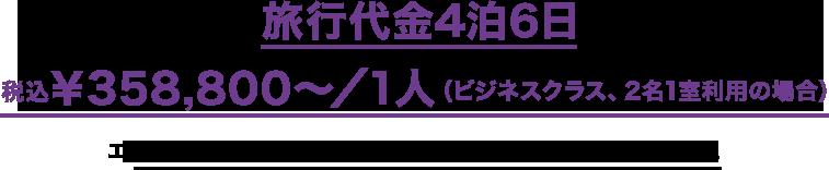 旅行代金4泊6日税込¥358,800〜/1人(ビジネスクラス、2名1室利用の場合)エコノミークラス、2名1室利用の場合:税込¥248,800〜/1人