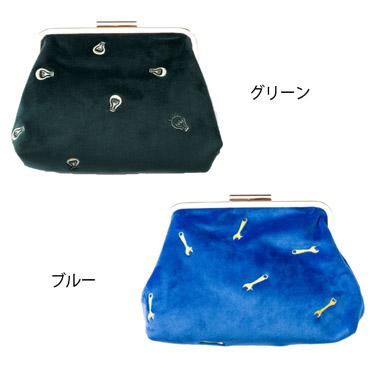 優待価格[COOCO]刺繍ベロアがま口ショルダーバッグ