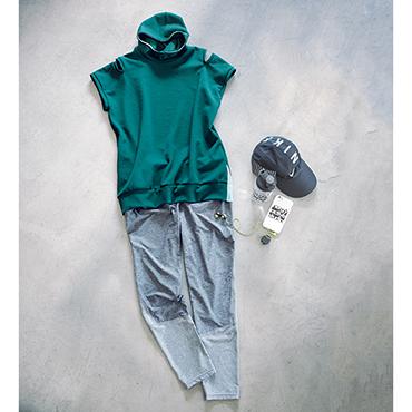 [NERGY]フーディスリットTシャツとブロッキングスタジオパンツのウェアセット
