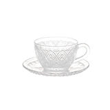 "[Wako's Room]Glass cap&saucer ""Fiore""Clear (2客セット)"
