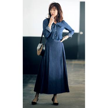 [Rivet&Blue]デニムプリーツスカート