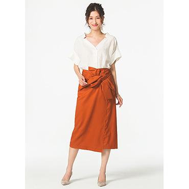 [RACEA]リボン付きタイトスカート