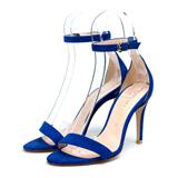優待価格[MAMIAN]美脚ハイヒールヒールサンダル/足が痛くない(なりにくい)9.0cmヒール/レースアップ2WAYスエードハイヒールサンダル(アンクルベルト付き)(3570)