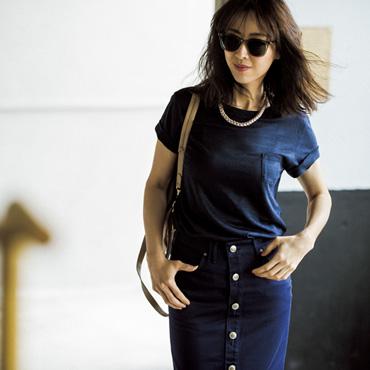 [DUAL VIEW]胸ポケット付き麻Tシャツ