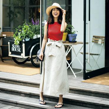 [LOANA]ウエストリボン付きマキシスカート
