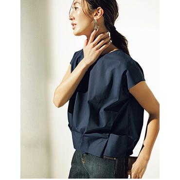 [RAW FUDGE]別注カラー裾タックフレンチスリーブブラウス