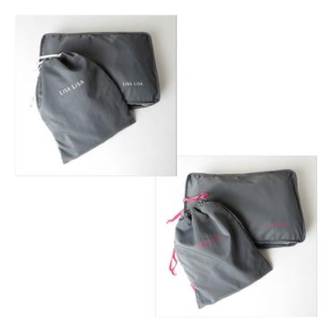 [LiSA LiSA]スクエアWポーチ&巾着ポーチ2点セット