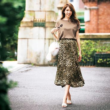 [Vingt Neuf]Tシャツ&レオパードスカートセット