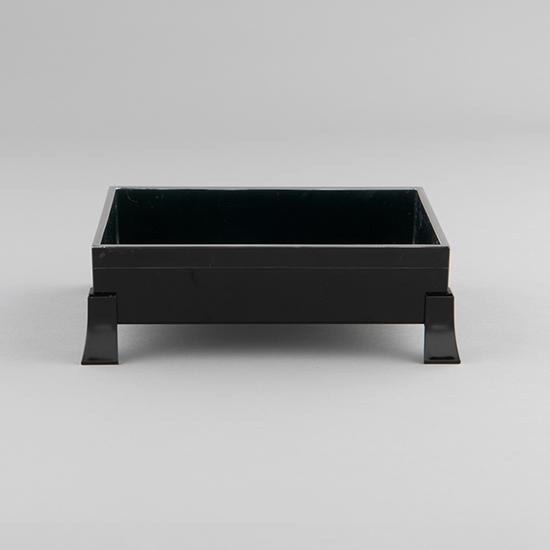 [FOURGRACE TABLEWARE]6.5寸 足付き 長角珍味箱(角型足)黒天銀