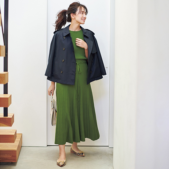 [Mila Owen]オーガニックコットンリブニットフレアスカート