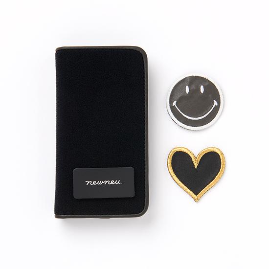 [newneu.]iPhone ケース[手帳タイプ]&ニコちゃん/ハート ワッペンセット