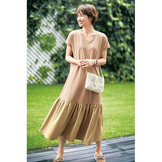 [SUGAR ROSE]裾フレアドッキングワンピース(ミニロゴバッグ付き)