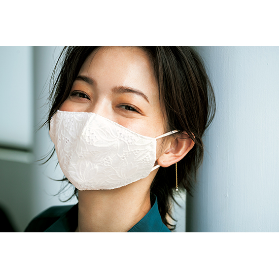 [S・girasole&VICENDA]ひんやりレースマスク&ホワイトパールジュエリーセット