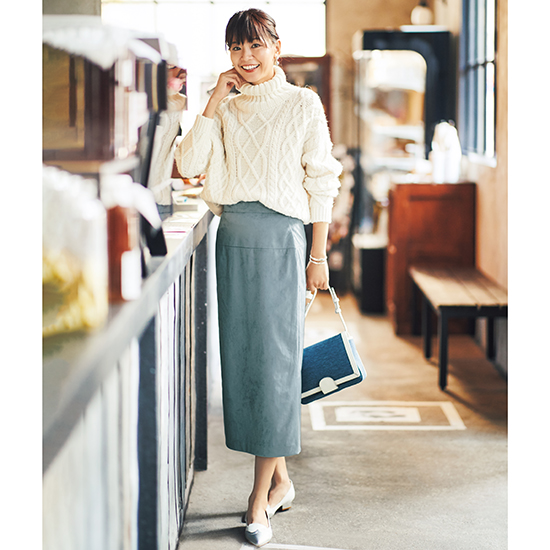 [S・girasole]エコスエードタイトスカート