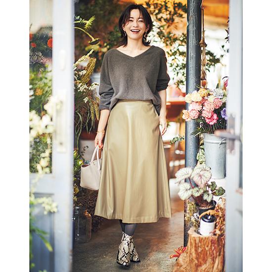 [S・girasole]エコレザーAラインスカート