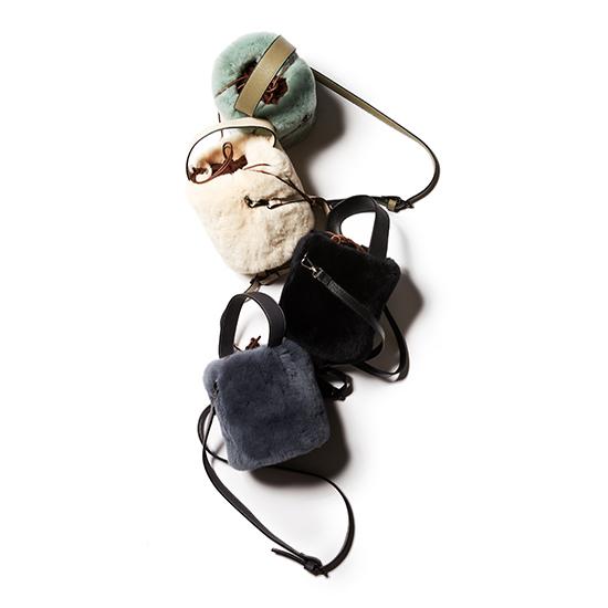[adagietto]バケツ型ラビットファーバッグ