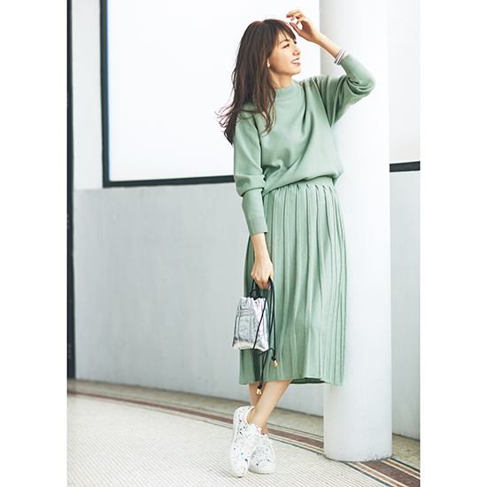 [Elura]ニットプリーツスカートセットアップ