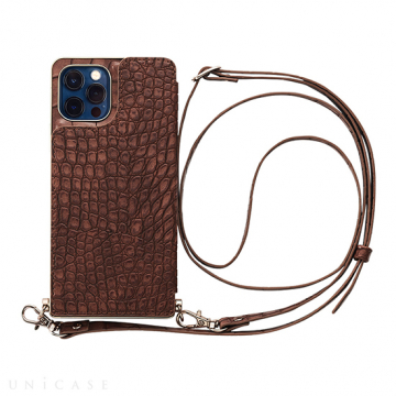 [UNiCASE]【MAELYS LOUNA】 Cross Body Case Animal Series for iPhone12/12Pro 【iPhone12/12 Pro ケース】 (crocodile)