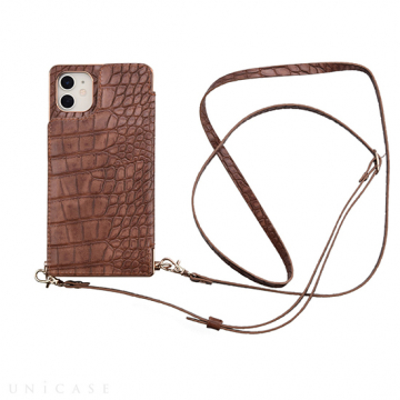 [UNiCASE]【MAELYS LOUNA】 Cross Body Case Animal Series for iPhone11/XR 【iPhone11/XR ケース】(crocodile)
