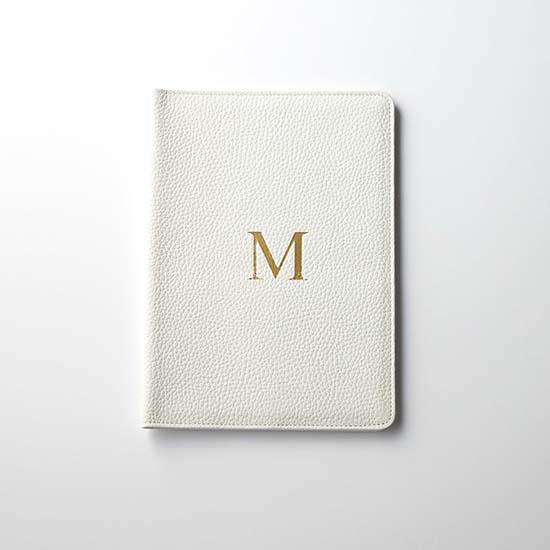 [Calmere]イニシャル入り手帳カバー(A5サイズ対応)/ホワイト