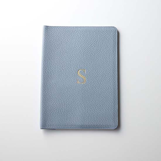[Calmere]イニシャル入り手帳カバー(A5サイズ対応)/スカイブルー