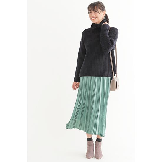 優待価格[Liyoca]サテンプリーツスカート