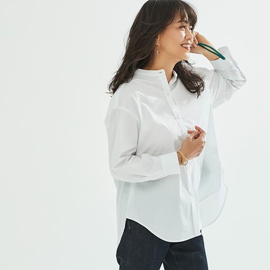 [Elura]シンプルノーカラーシャツ