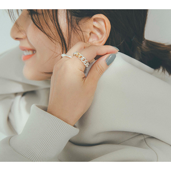 [nanagu]thin bumpy &shiny chain ring set