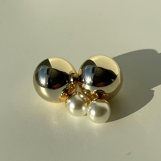 [BLANC]double metal & pearl gold pierce