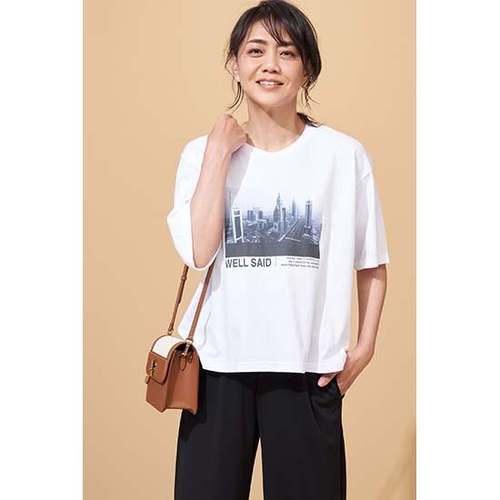 [le ciel de HARRISS]フォトプリント5分袖Tシャツ