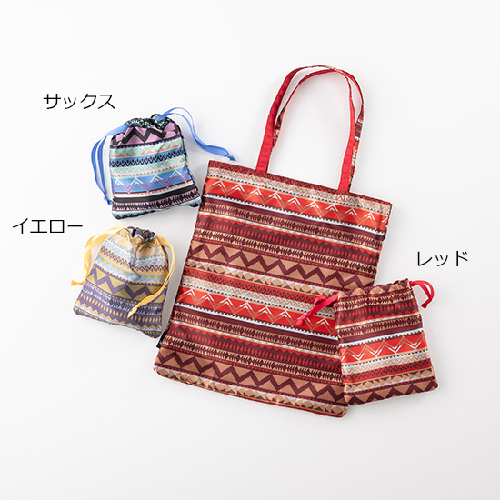 [cooco]【Nananoel】eva 巾着付柄生地エコバッグ トートM/A4対応