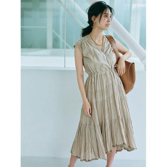 [CASA FLINE]リネンイレヘム巻きドレス
