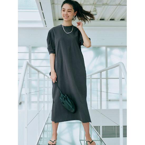 [CASA FLINE]タック袖カットソーロングドレス