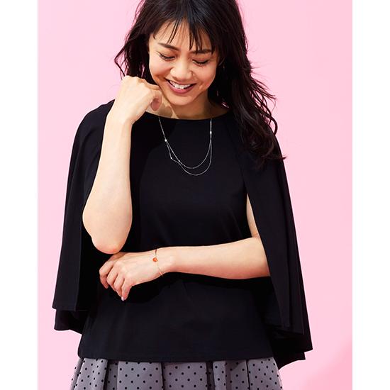 [Elura]ドレスアップケープデザインTシャツ