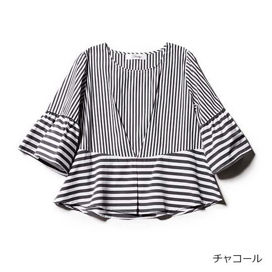 [Priority]ウエスト&袖 切替えストライプトップス