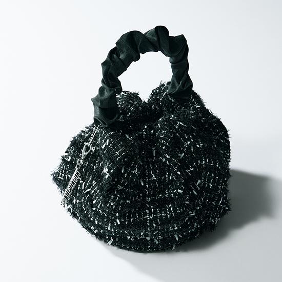 [Charmantsac]コロンバッグ(ブラックツイード)