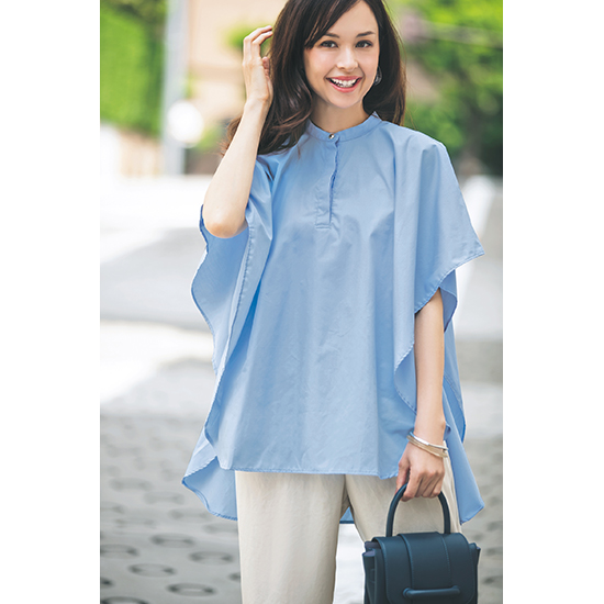 [BLANC]スタンドカラープルオーバーシャツ