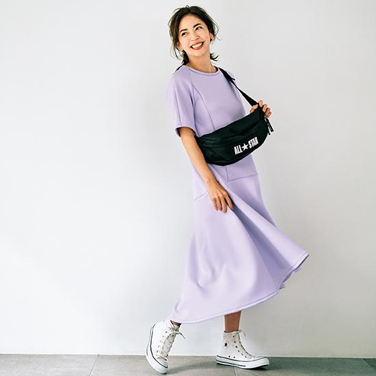 [Vingt Neuf]バックロング裾フレアワンピース